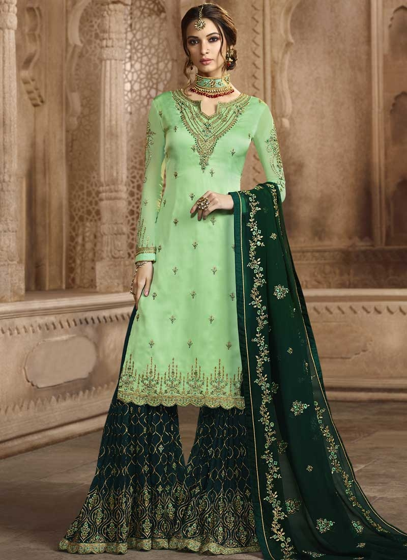 Bottle Green and Mint Green Embroidered Work Sharara Salwar Suit