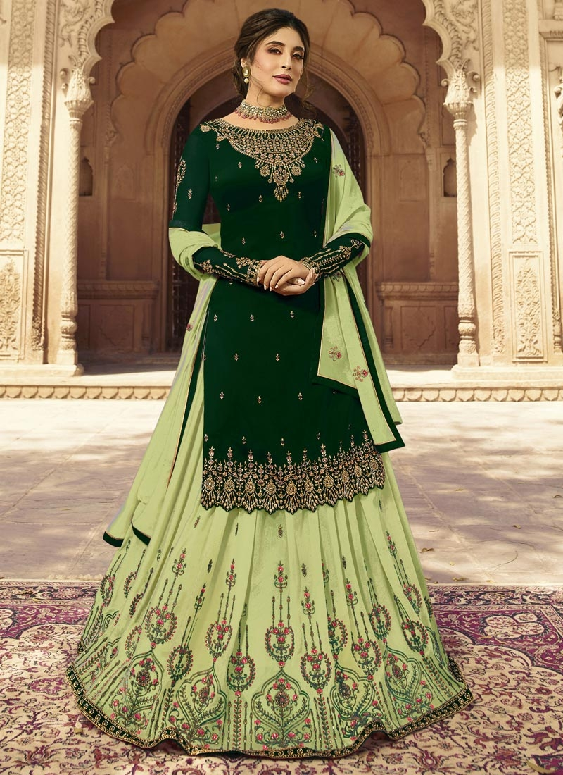 Bottle Green and Mint Green Faux Georgette Kameez Style Lehenga Choli For Ceremonial