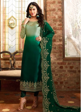 Bottle Green and Mint Green Pakistani Straight Suit For Ceremonial