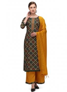 Bottle Green and Mustard Cotton Palazzo Style Pakistani Salwar Suit