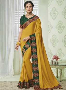 Bottle Green and Mustard Embroidered Work Designer Contemporary Saree
