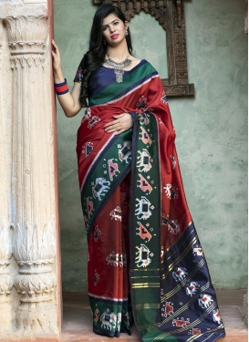 Bottle Green and Navy Blue Digital Print Work Designer Contemporary Saree