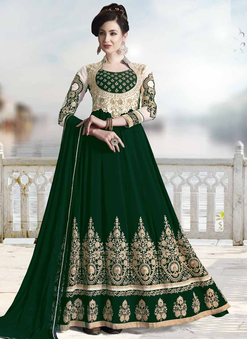 Bottle Green and Off White Booti Work Long Length Designer Anarkali Suit