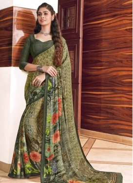 Bottle Green and Olive Digital Print Work Traditional Saree