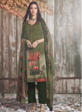 Bottle Green and Olive Pant Style Designer Salwar Suit
