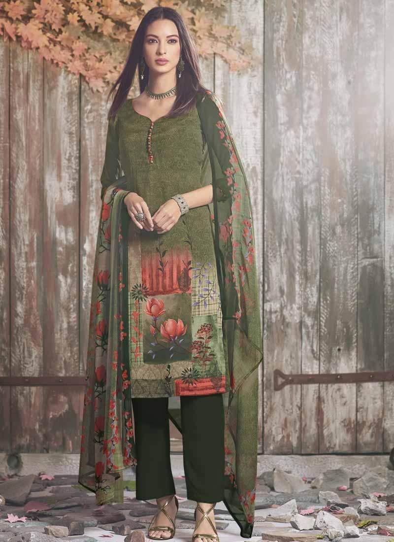 Bottle Green and Olive Pant Style Designer Salwar Suit