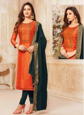 Bottle Green and Orange Churidar Salwar Suit For Casual