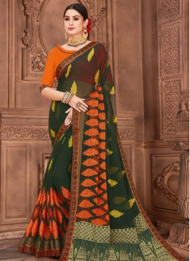 Bottle Green and Orange Digital Print Work Faux Chiffon Designer Traditional Saree