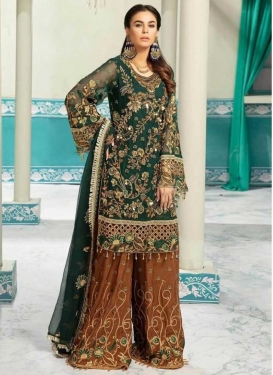 Bottle Green and Orange Palazzo Style Pakistani Salwar Kameez