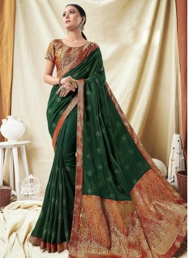 Bottle Green and Red Contemporary Saree For Ceremonial