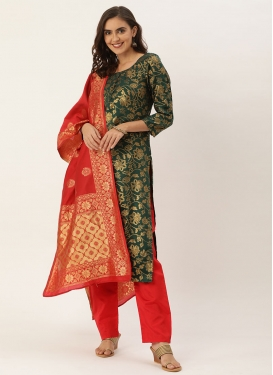 Bottle Green and Red Pant Style Classic Salwar Suit For Casual