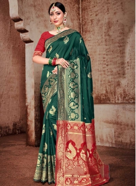 Bottle Green and Red Woven Work Traditional Designer Saree
