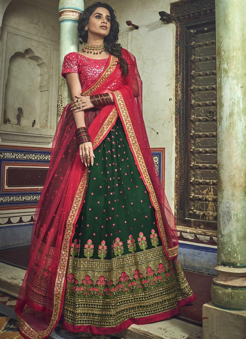 Bottle Green and Rose Pink Net A - Line Lehenga