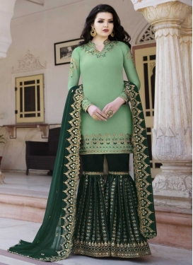 Bottle Green and Sea Green Embroidered Work Sharara Salwar Kameez