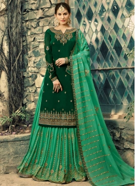 Bottle Green and Sea Green Faux Georgette Kameez Style Lehenga Choli For Festival
