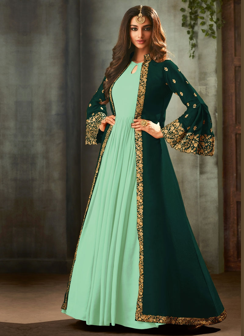Bottle Green and Turquoise Jacket Style Salwar Suit