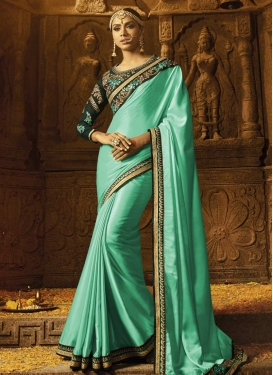 Bottle Green and Turquoise Traditional Saree