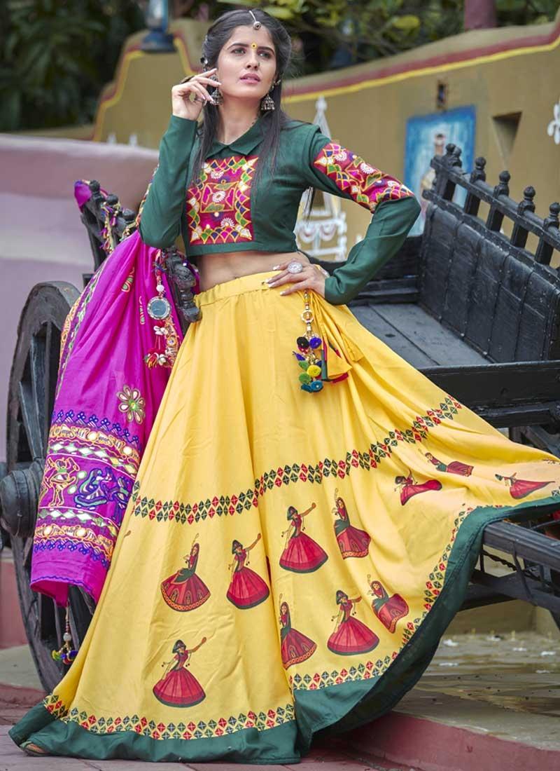 Bottle Green and Yellow Designer A Line Lehenga Choli For Ceremonial