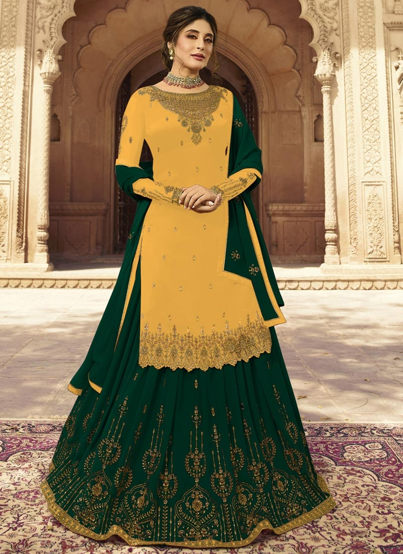 Bottle Green and Yellow Embroidered Work Kameez Style Lehenga Choli