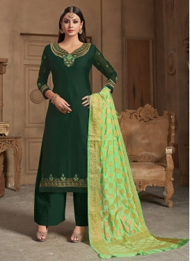 Bottle Green Georgette Satin Party Designer Straight Suit