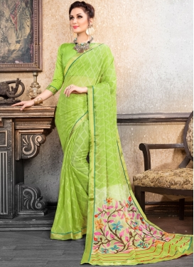 Brasso Abstract Print Printed Saree in Mint Green