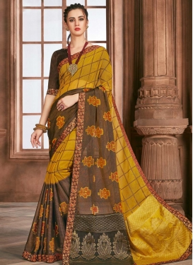 Brasso Brown and Mustard Classic Saree For Ceremonial