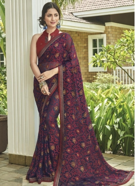 Brasso Georgette Digital Print Work Traditional Designer Saree