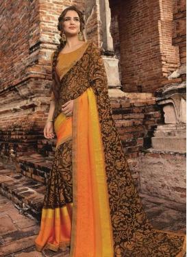 Brasso Georgette Lace Work Trendy Saree