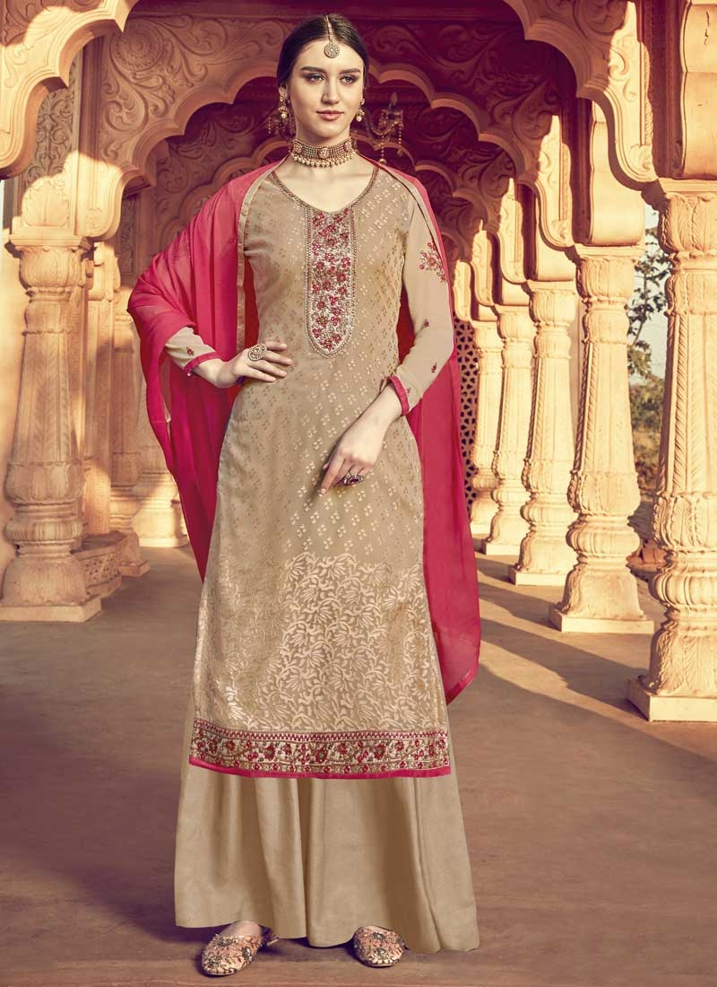 Brasso Georgette Palazzo Style Pakistani Salwar Suit