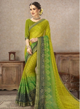 Brasso Georgette Print Work Contemporary Style Saree