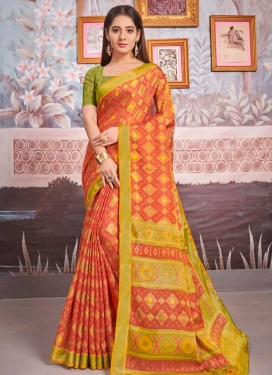 Brasso Woven Work Coral and Olive Traditional Designer Saree