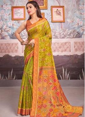 Brasso Woven Work Olive and Orange Designer Traditional Saree