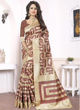 Breathtaking Thread Work Silk Beige and Brown Trendy Saree