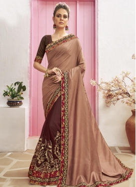 Brown and Coffee Brown Embroidered Work Half N Half Trendy Saree