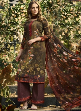 Brown and Coffee Brown Palazzo Style Pakistani Salwar Kameez