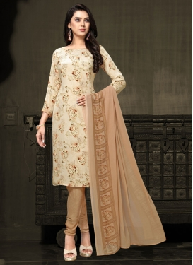 Brown and Cream Digital Print Work Trendy Churidar Salwar Kameez
