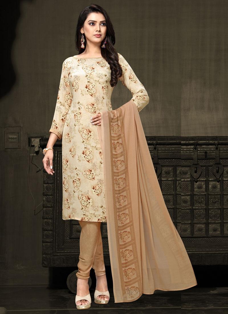 Brown and Cream Digital Print Work Trendy Churidar Salwar Kameez