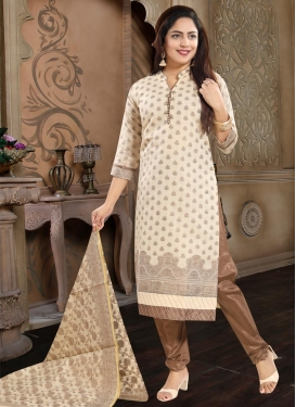 Brown and Cream Readymade Churidar Salwar Kameez For Ceremonial