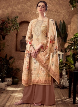 Brown and Cream Viscose Palazzo Style Pakistani Salwar Suit For Ceremonial