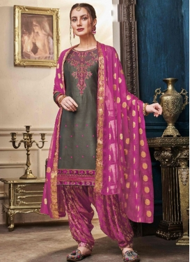 Brown and Fuchsia Embroidered Work Designer Patiala Salwar Suit