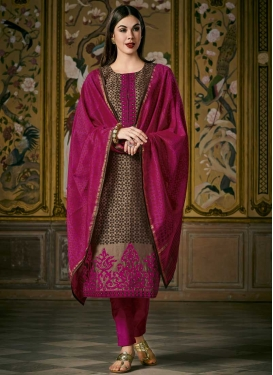 Brown and Fuchsia Embroidered Work Readymade Designer Suit