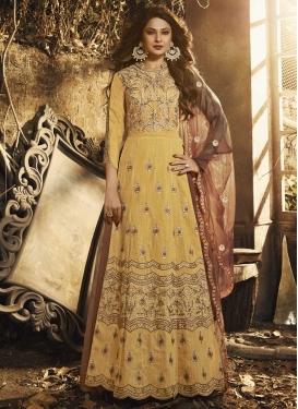 Brown and Gold Designer Kameez Style Lehenga Choli