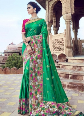 Brown and Green Traditional Saree For Party