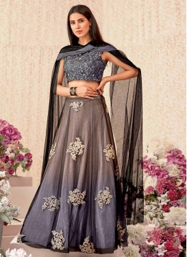 Brown and Grey A - Line Lehenga For Festival