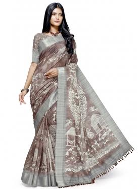 Brown and Grey Designer Contemporary Saree