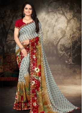 Brown and Grey Digital Print Work Designer Contemporary Style Saree