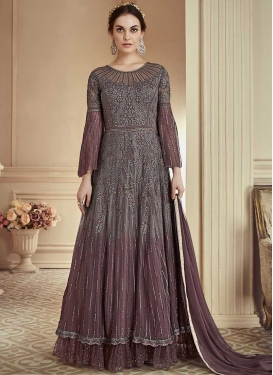 Brown and Grey Net Trendy Designer Salwar Kameez