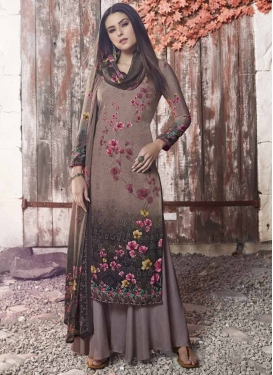 Brown and Grey Palazzo Style Pakistani Salwar Kameez For Ceremonial