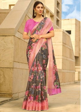 Brown and Hot Pink Digital Print Work Contemporary Style Saree