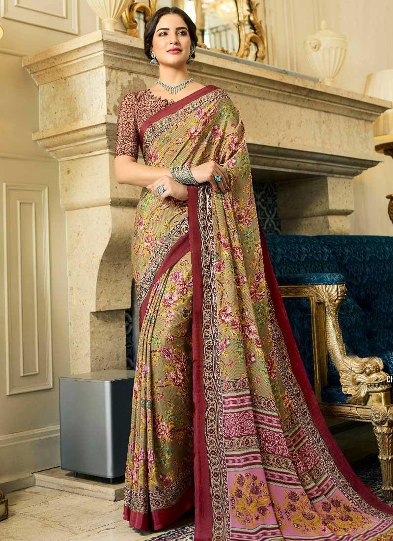 Brown and Maroon Digital Print Work Traditional Saree